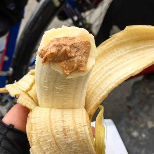 Almond butter and banana moment