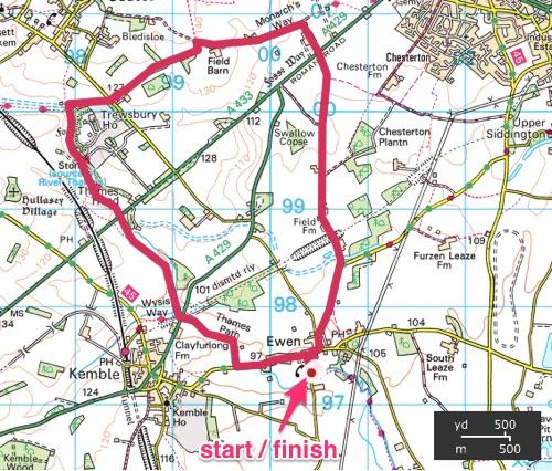 Thames Source Circular Walk - OS Map