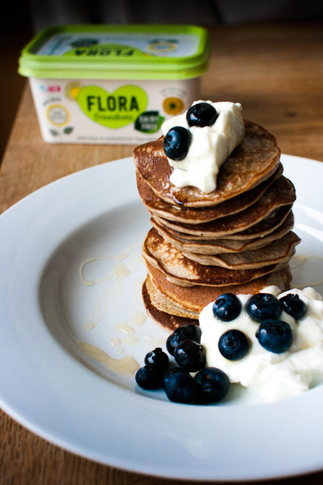 Flora Freedom Banana and Blueberry Post Workout Pancakes