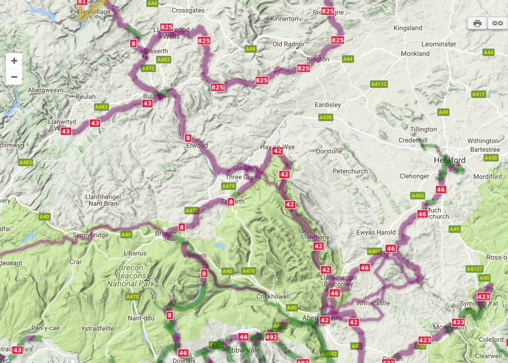 Wales National Cycle Route Sustrans Map