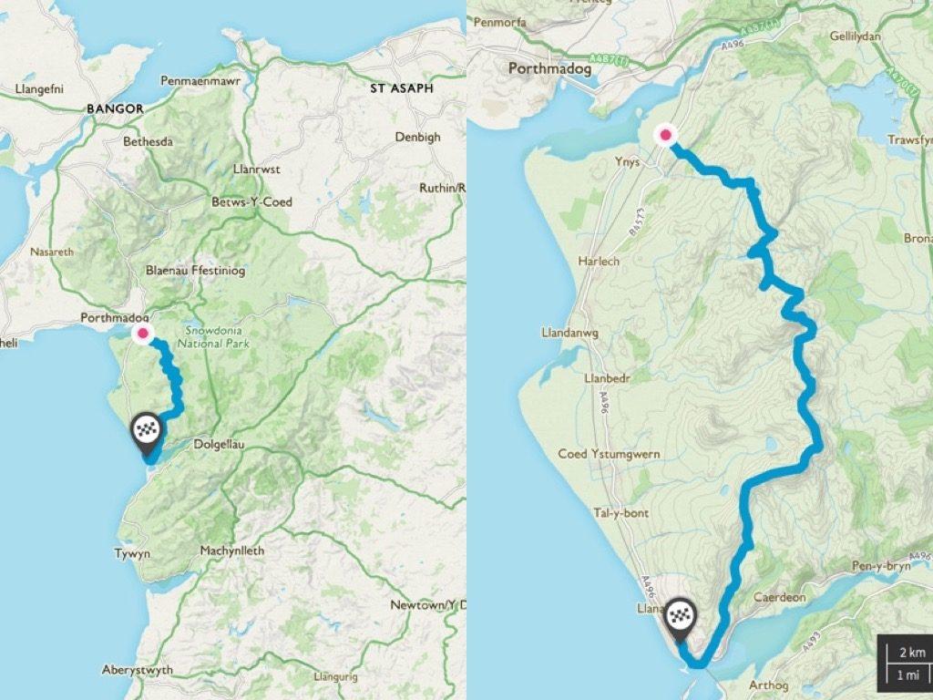 Rhinog Traverse Map